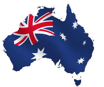 Shape of Australia in flag colors